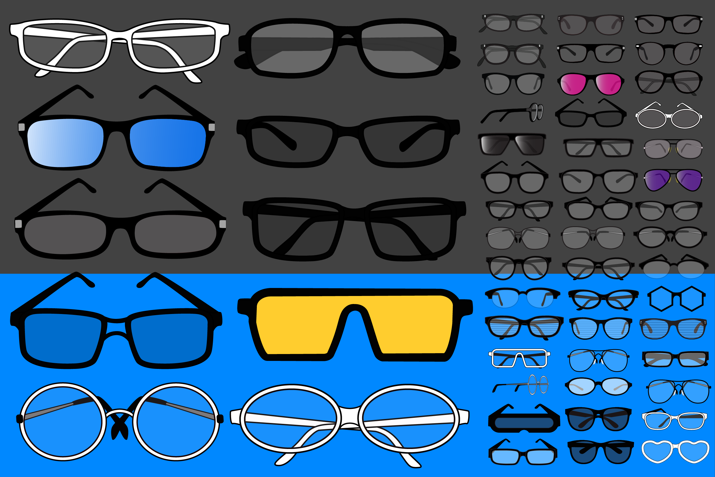 Glasses and eyewear vector and PNG collection