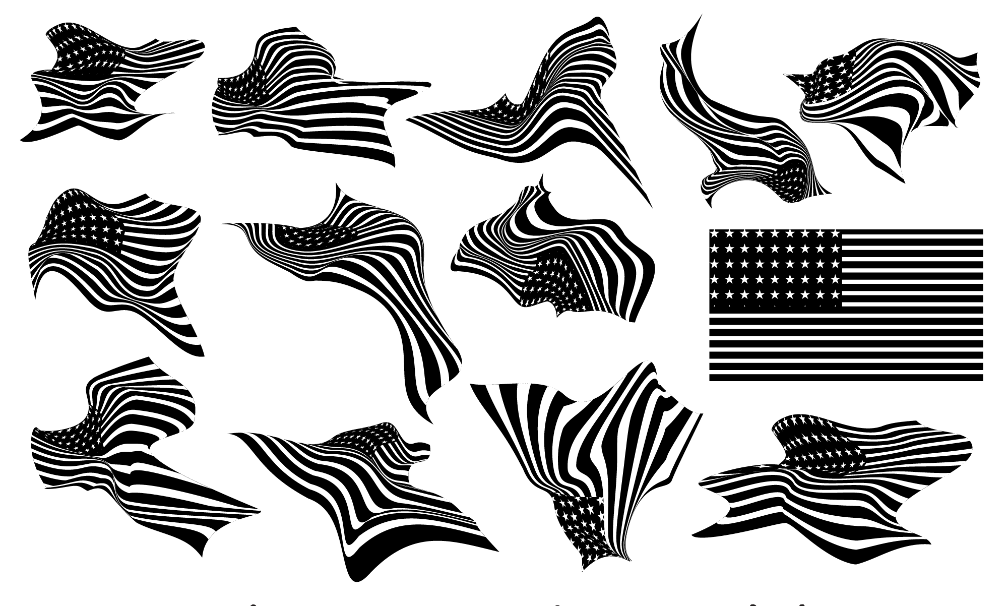 wavy-USA-Flags-PNG-Vector-Black-shapes