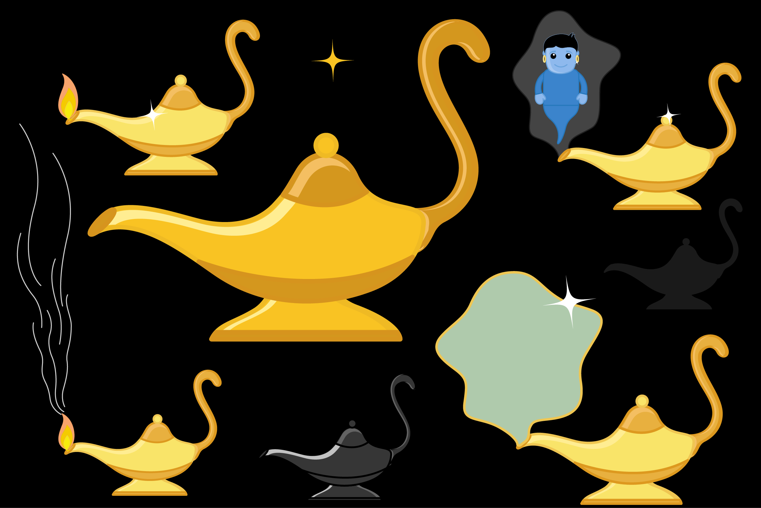 Magic Lamp Clip-art Vector Set with Genie